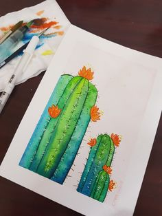 Watercolor Cactus, Plastic Cutting Board, Art, Kunst, Art Education, Artworks