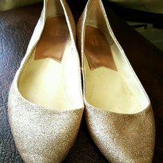 Gold glitter flats by Faded Glory Women's gold glitter flats by Faded Glory. Full of sparkle that doesn't come off. Size 11.  These shoes were worn once for a few hours, indoors, on a carpeted floor. EUC.   15% discount when bundling 2+ items from my closet. Happy Shopping! :-) Faded Glory Shoes Flats & Loafers