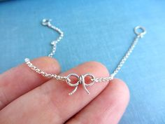 Sterling silver bow charm bracelet ribbon friendship by lunahoo