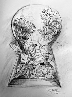 Creative Drawing Alice In Wonderland Key Black and White Drawing - Yahoo Image Search Results - Hipster Drawings, Art Drawings Sketches, Disney Drawings, Tattoo Drawings, Cool Drawings, Tattoo Cat, Tattoo Sketches, Drawing Art, Fairy Drawings