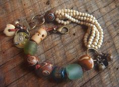 Natural Howlite,Agate,Glass, African Beads and Bone Leather Charm Bracelet yuccabloom