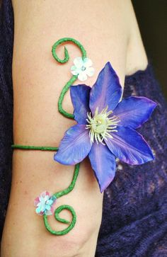 purple flower upper arm cufff adjustable armlet flower girl fairy festival jewelry whimsical woodland accessory