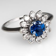 Sapphire Flower Engagement Ring Diamond Accents 18K White Gold