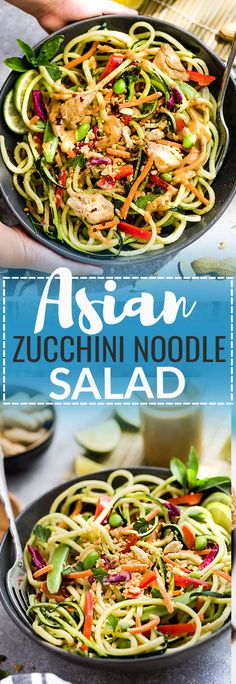 This Asian Zucchini Noodle Salad with Thai Peanut Dressing is the perfect healthy and easy way to use up some summer garden zucchini. Best of all, these zoodles are super simple to customize with chicken, shrimp or leave it as is for meatless, vegetarian version. A delicious lunch or light dinner and easy to make ahead for Sunday meal prep for work lunches or lunch bowls.