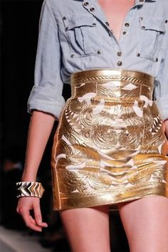 Washed out denim polo + high waisted gold skirt! ♥
