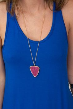 This trendy stone necklace with an arrowhead shape is a great pendant necklace to throw on over a loose tank or t-shirt or darling dress. A musical festival accessory staple!  $24.25