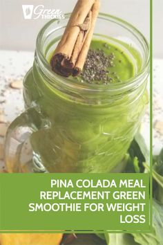 This delicious breakfast pina colada meal replacement green smoothie for weight loss will totally satisfy your sweet cravings and fill you up until lunch time. Healthy Blender Recipes, Raw Vegan Recipes, Healthy Food, Green Smoothie Recipes, Green Smoothies, Smoothie Diet, Healthy Meal Replacement Shakes, Spinach Benefits, Delicious Breakfast Recipes