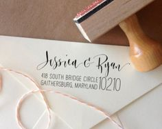 Custom Calligraphy Return Address Stamp -- Mixed Calligraphy and type - Rebel Stout Style large zip code