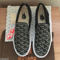 NEW-Vans-X-Goyard-Custom-Made-Slip-On-Black-Christpher-Wanton-Style-RARE