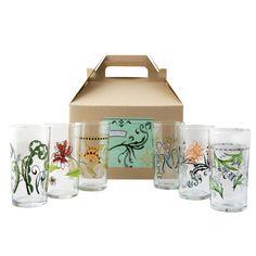 Floral Italian Wine Glasses Gift Box of 6