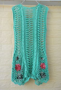 Handmade Crochet Boho Mini Dress Tunic Flower by Tinacrochetstudio