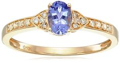 10k Yellow Gold Tanzanite Oval and Diamond Solitaire Ring (1/10 cttw I-J Color, I2-I3 Clarity), Size 7