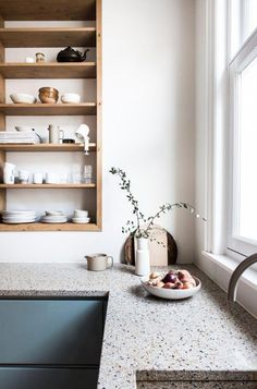 Blue kitchen with terrazzo worktops | Avenue Studio #kitcheninteriordesign #bluekitchen