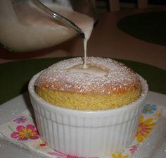 Pistachio Souffle with Vanilla Sauce