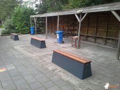 Pingpongtafel Blauw bij Nordwin College in Buitenpost