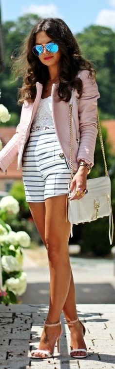 Black And White Stripe Mid-rise Loose Shorts