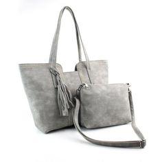 2016 Womens Handbag Large Tote+Clutch Bag Vintage Tassel Scrub Leather Female Bag Ladies Shoulder Bag bolsa feminina
