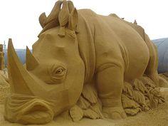 Nord Pas de Calais-Touquet plage-Sculptures de sable - Rhinocéros