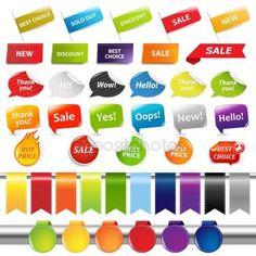Conjunto de adhesivos de venta y etiquetas — Ilustración de stock