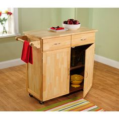 Large Kitchen Cart, Natural with Wood Top