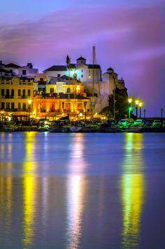 Port of Skopelos island by night, Sporades, Aegean sea, Greece Skopelos Greece, Skiathos, Great Places, Beautiful Places, Places To Visit, Santorini, Myconos, Greece Pictures, Greece Islands