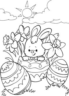 Easter Coloring Pictures, Free Easter Coloring Pages, Easter Coloring Sheets, Easter Bunny Colouring, Halloween Coloring Pages, Cute Coloring Pages, Free Printable Coloring Pages, Coloring Books, Free Printables