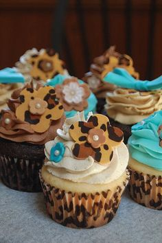 Leopard print flower cupcakes with matching wrappers from J Dot Cupcakes in Bethlehem, PA