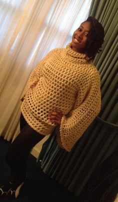 Crochet loose neck top , sweater