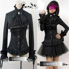 Black Victorian Gothic Clothing Corset Dress Shirt
