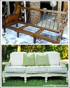 Vintage old wooden sofa frame repurposed with new cushions and paint; Upcycle, Recycle, Salvage, diy, thrift, flea, repurpose, refashion! For vintage ideas and goods shop at Estate ReSale ReDesign, Bonita Springs, FL