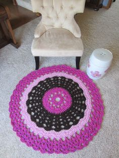 ROUND DOILY RUG in brown and pink Crochet round by Bluetulipgifts, $69.99