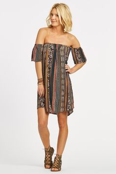 Sahara Off the Shoulder Printed Dress by RD STYLE - EVEREVE
