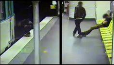 Una cámara de seguridad instalada en el interior del metro de París,  Francia,  captó el momento en el que un hombre que acaba de robarle su cartera a unjoven que se encontraba en estado de