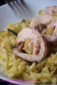 Roulé de poulet à l'ananas et au lard, riz épicé au jus d'ananas, souvenir du salon du blog culinaire