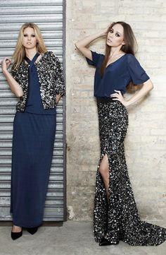 Falda y chaqueta de lentejuelas, vestido y top de seda - Sequin skirt and jacket, silk top and dress    SAYAN