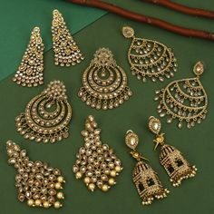 Antique Jewellery Designs, Fancy Jewellery, Stylish Jewelry, Jewelry Design, Bridal Jewellery Inspiration, Bridal Jewelry, Fashion Earrings, Fashion Jewelry, Indian Jewelry Sets