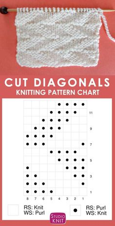 Cut Diagonals Stitch Knitting Pattern- Cut Diagonals Stitch Knitting Pattern Knitting Chart of the Cut Diagonals Stitch Pattern that creates a sideways zigzag chevron texture using knits and purls in a Repeat. Knitted Dishcloth Patterns Free, Knit Dishcloth, Knitting Patterns Free, Knit Patterns, Free Knitting, Stitch Patterns, Sock Knitting, Knitting Machine, Vintage Knitting