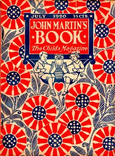 John Martin's Book 1920-07  Boy and girl read their books faithfully, but all around them are patriotic patterns of giant flowers in red, white, and blue bunting for Independence Day.