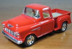 1/32 Scale 1955 Chevy Stepside Pick-up Truck Metal Diecast Model Collection Pull Back Action Kinsmart Red 4.9 x 1.9 x 2  Sale: $7.49