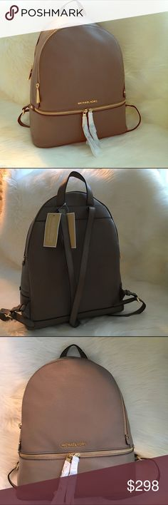 """MICHAEL KORS Dark Dune Rhea Large backpack purse. Dark Dune """"Beige"""" leather backpack purse with gold tone hardware by Michael Kors. Measures 12W x15 4.5 inches deep. New and Authentic! trades Michael Kors Bags Backpacks"""