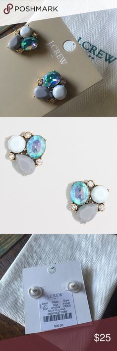 "NEW J Crew Crystal Cluster Earrings Fossil Gray Gorgeous pair of statement earrings!!  Brand New.  Color - Fossil Gray Dust Bag/Pouch Included  Glass and epoxy stones. Light gold ox plating. Dimensions: 7/10""L x 3/4""W. Import. J. Crew Jewelry Earrings"