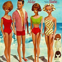 Barbie Vintage, Vintage Dolls, Vintage Toys 1960s, Vintage Swim, Childhood Toys, Childhood Memories, Barbie Et Ken, Ken Doll, Manequin
