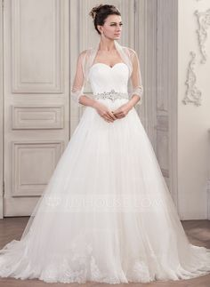 Ball-Gown Sweetheart Chapel Train Ruffle Beading Sequins Lace Up Strapless Sleeveless Church General Plus Yes Spring Summer Fall Ivory Tulle Wedding Dress