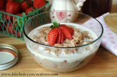 Strawberries 'n Cream Oatmeal Recipe - Sweet and creamy oatmeal with pops of fresh strawberries perfect for breakfast or brunch!