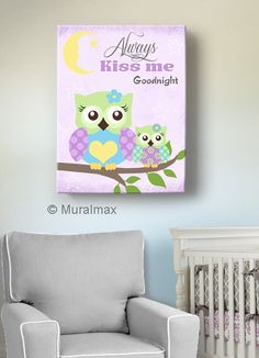 Owl Decor Girls wall art - OWL canvas art, Baby Nursery Owl Always Kiss Me Good Night  whimsical nursery art - Purple
