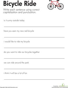 worksheets fix the sentences bicycle ride more bicycles safety ...