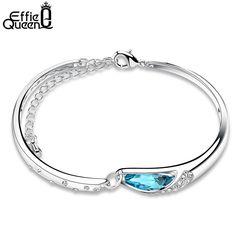 Effie Queen 2017 Romantic Blue Austria Crystal Water Drop Bangle Bracelet Platinum Plated Charm Bracelet for Women WB10