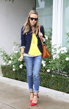 casual blazer, bright tee, jeans, and pop heel.