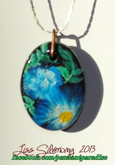 One of a kind #flower design oval pendant #necklace #blue #love #design #handmade #jewelry #syle #fashion