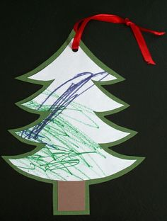 Upcycle Toddler art and turn scribbles into a cute ornament gift for a teacher or grandparent!